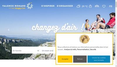 Site internet de Office de Tourisme et des Congres de Valence Romans Sud Rhone