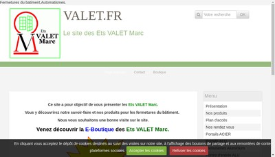 Site internet de SARL Etablissements Valet Marc