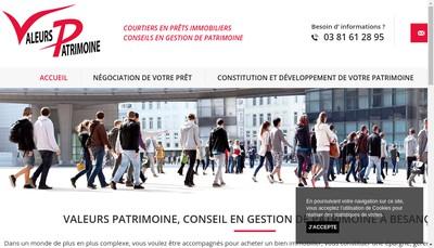 Site internet de Valeurs Patrimoine