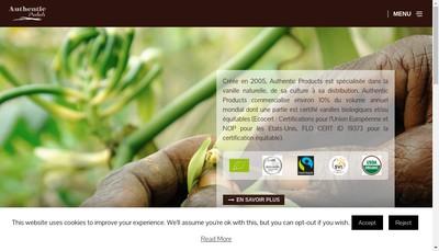 Site internet de La Vanille Authentic Products