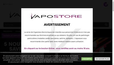 Site internet de Vapostore