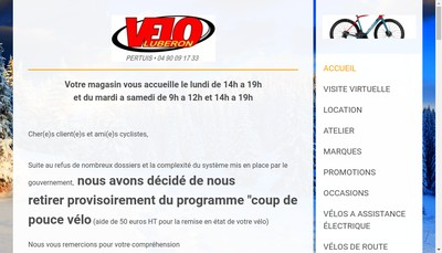 Site internet de Velo Luberon