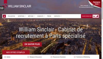 Site internet de William Sinclair Recrutement