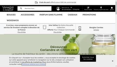 Site internet de Yankee Candle France