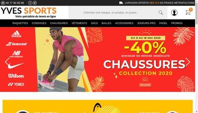 Site internet de Tennis Premium par Yves Sport