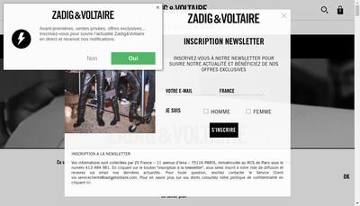 Site internet de Zadig & Voltaire