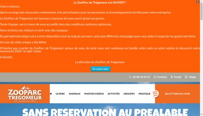 Site internet de Parc Zoologique de Tregomeur