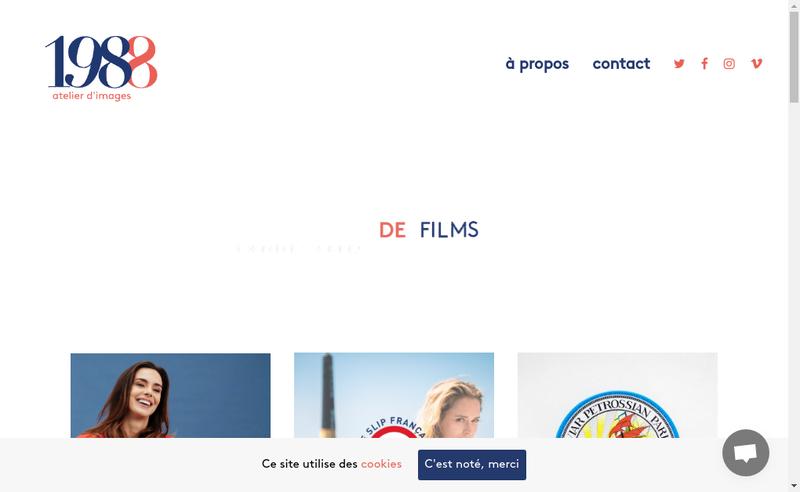 Capture d'écran du site de 1988 Films