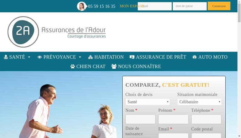 Capture d'écran du site de 2A Assurances de l'Adour