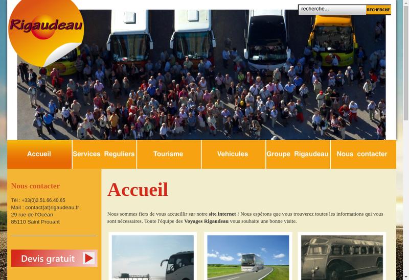 Capture d'écran du site de Voyages Rigaudeau