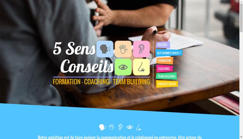 Capture d'écran du site de 5 Sens Conseils