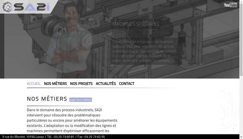 Capture d'écran du site de SA2I
