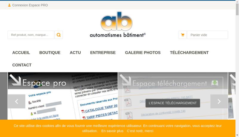 Capture d'écran du site de Automatismes Batiment