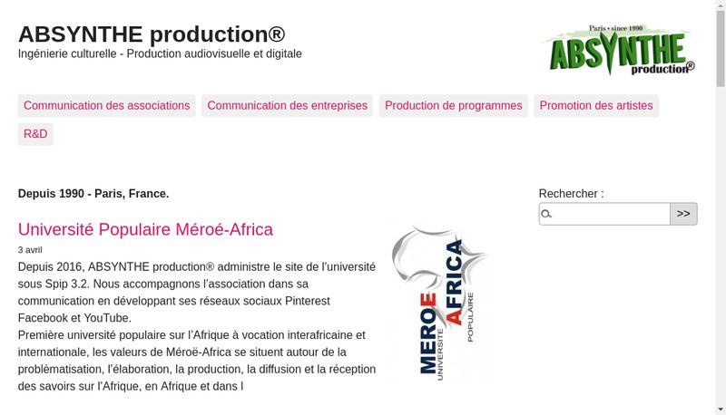 Capture d'écran du site de Absynthe Production