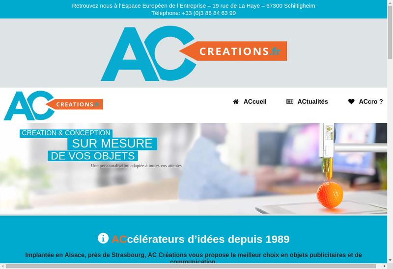 Capture d'écran du site de Ac Creations