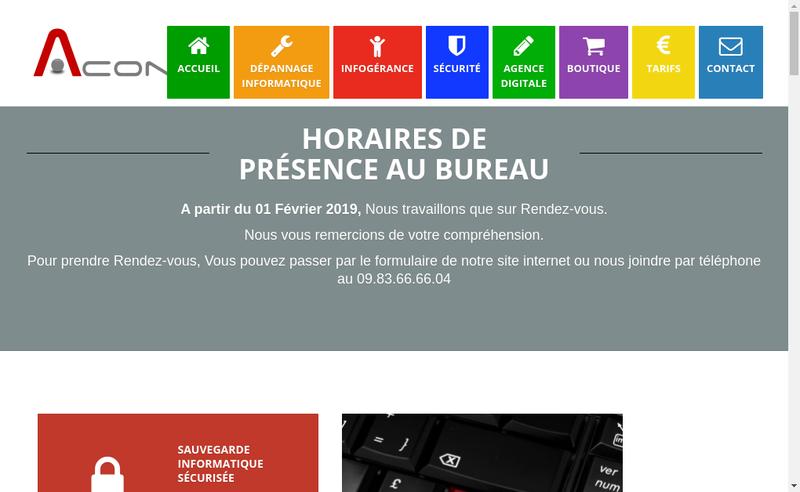 Capture d'écran du site de Aconai