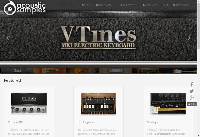 Capture d'écran du site de Acousticsamples