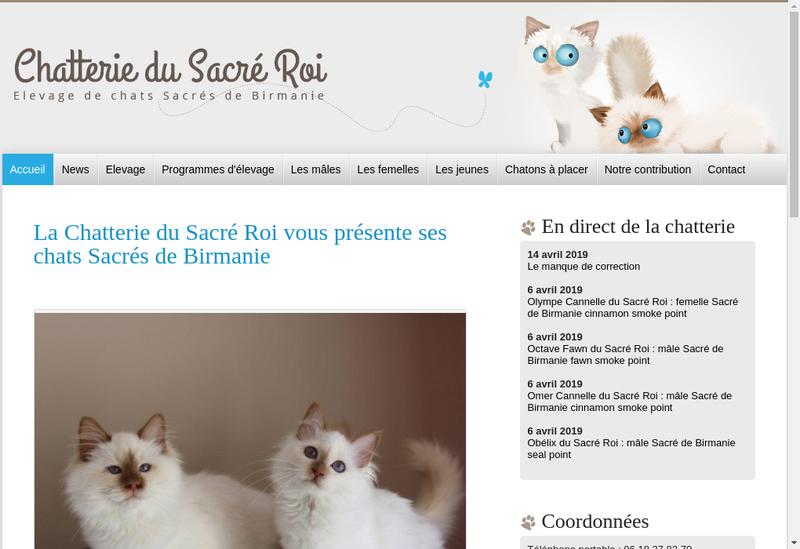 Capture d'écran du site de Chatterie du Sacre Roi
