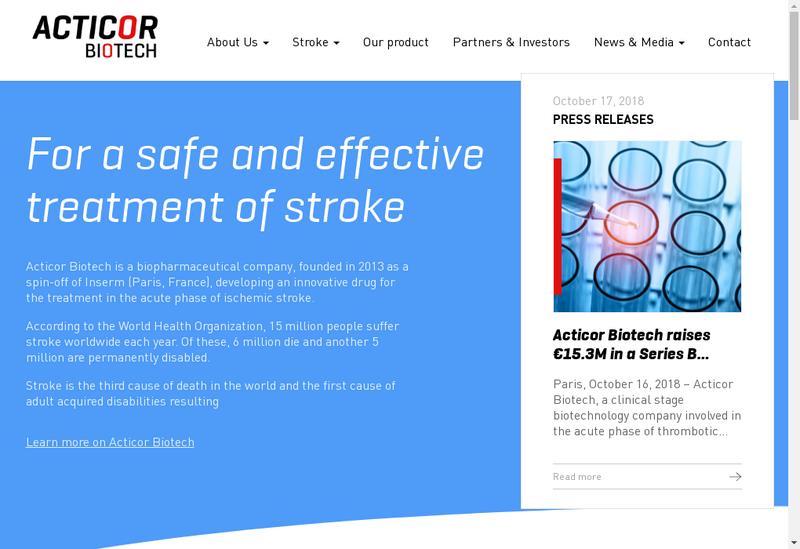 Capture d'écran du site de Acticor Biotech