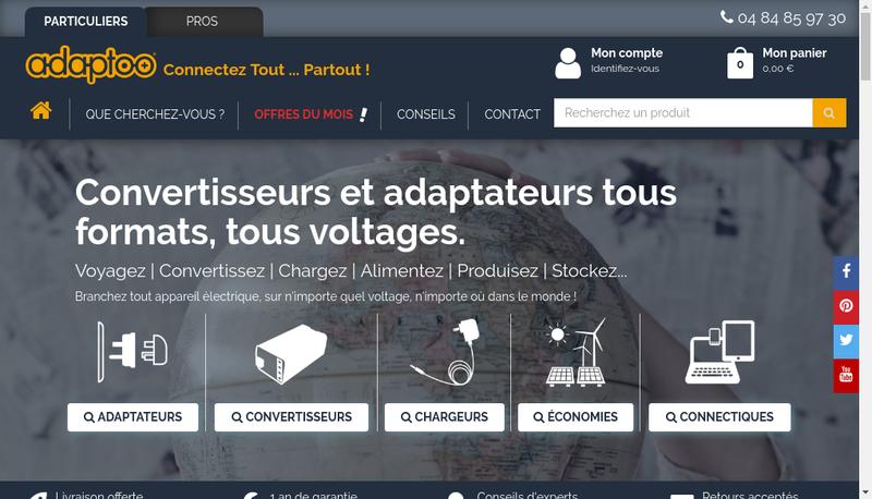 Capture d'écran du site de Adaptoo Adaptateurs Electriques Fr,Tra