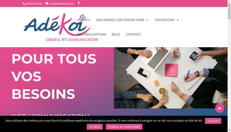 Capture d'écran du site de Adekoi