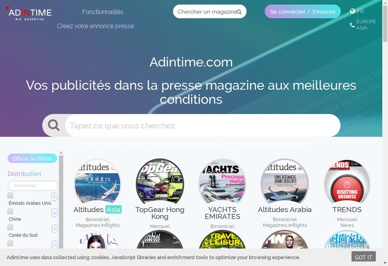 Capture d'écran du site de Adintime