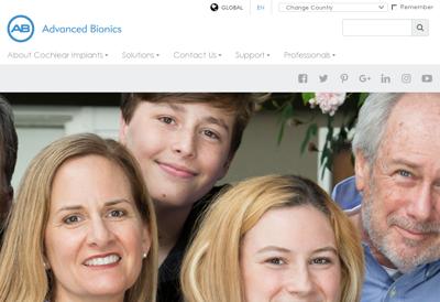 Capture d'écran du site de Advanced Bionics