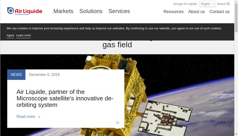 Capture d'écran du site de Air Liquide Cryogenic Services