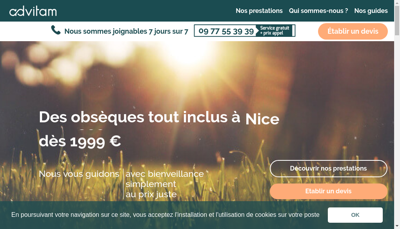 Capture d'écran du site de Advitam