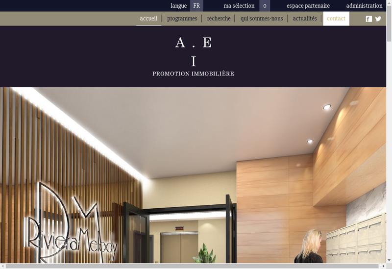 Capture d'écran du site de Aei Promotion