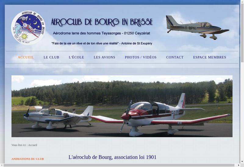 Capture d'écran du site de Aero Club Bourg en Bresse