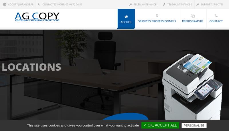 Capture d'écran du site de Ag Copy