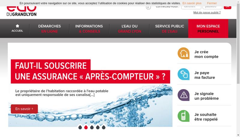 Capture d'écran du site de Societe Eau Gd Lyon Abrev Eau Gd Lyon