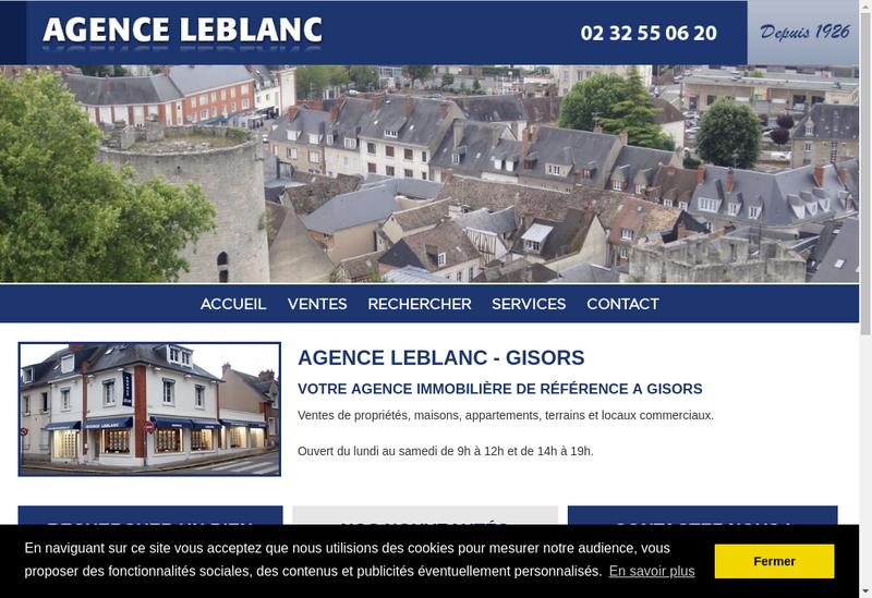 Capture d'écran du site de Agence Leblanc