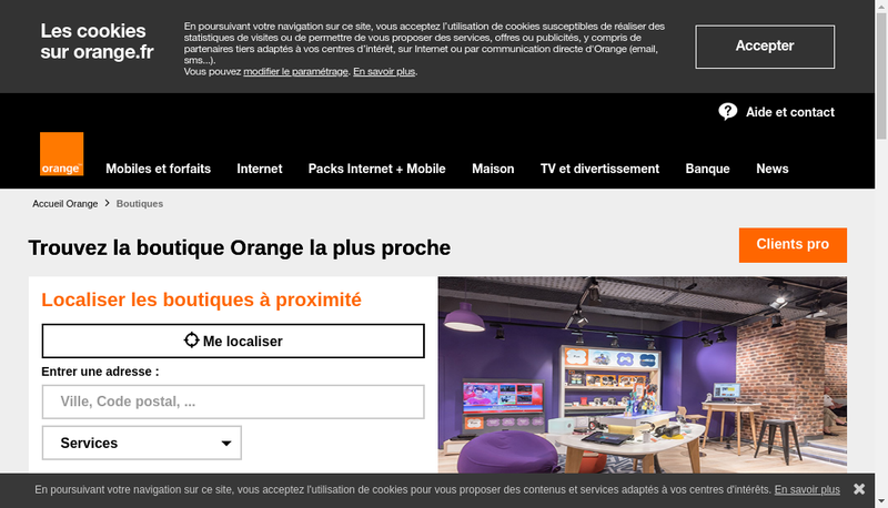 Capture d'écran du site de Orange Portails