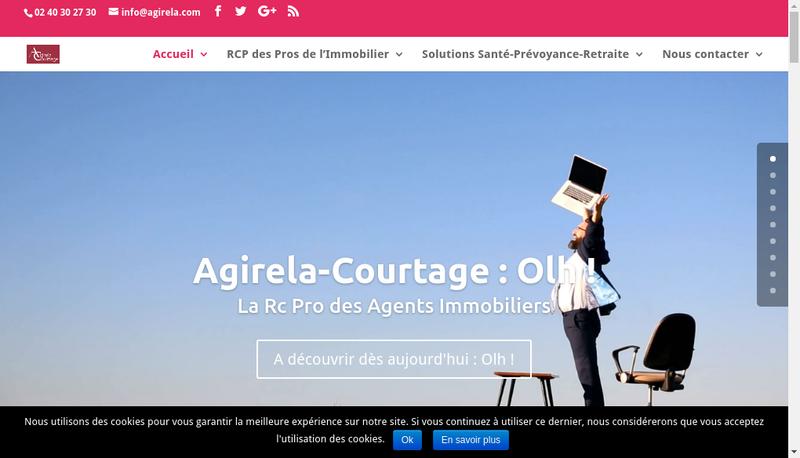 Capture d'écran du site de Agirela Courtage