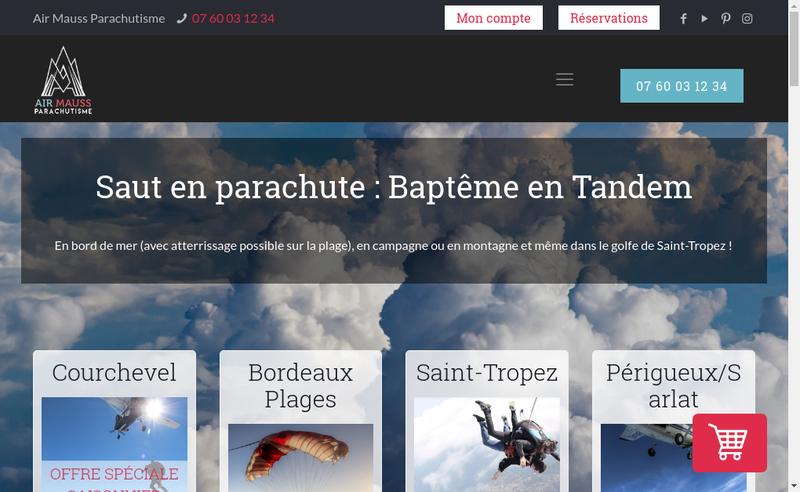Capture d'écran du site de Air Mauss Parachutisme