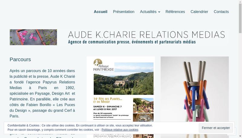 Capture d'écran du site de Akc Relations Medias