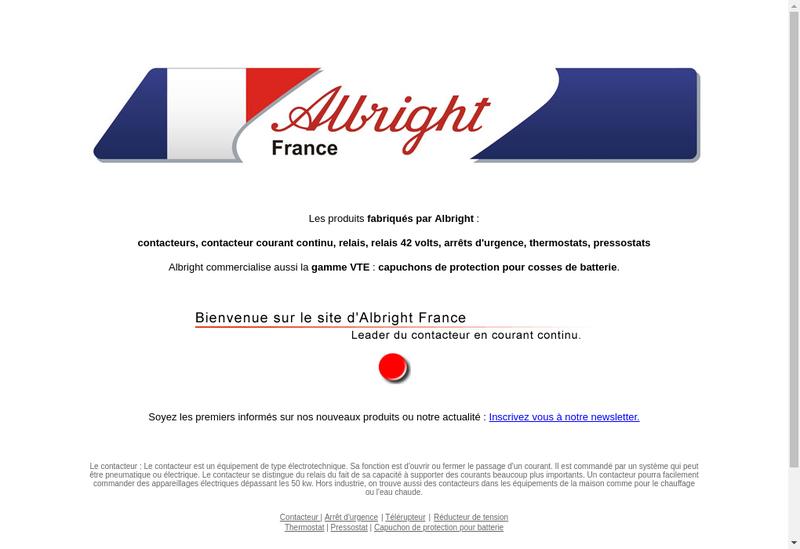 Capture d'écran du site de Albright France