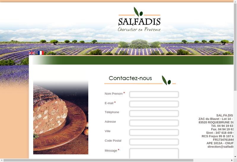 Capture d'écran du site de Salfadis Charcuterie
