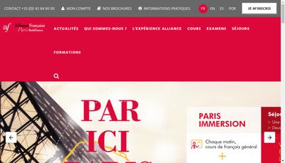 Capture d'écran du site de Allience
