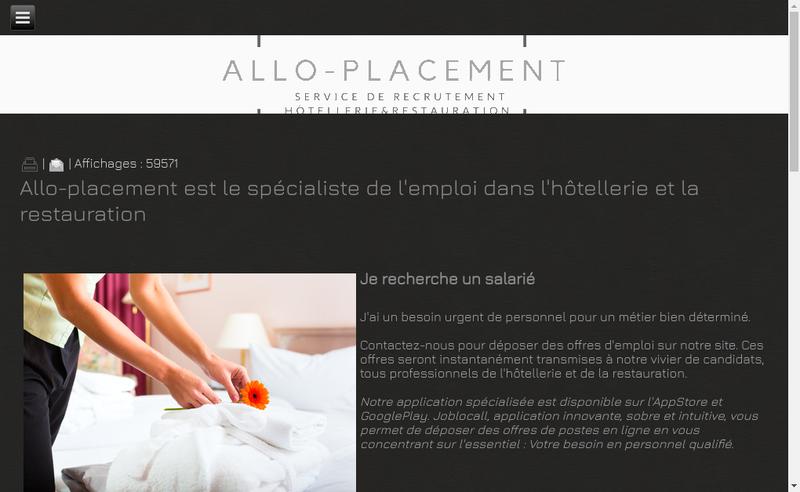 Capture d'écran du site de Allo Placement