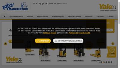 Capture d'écran du site de Alpes Manutention