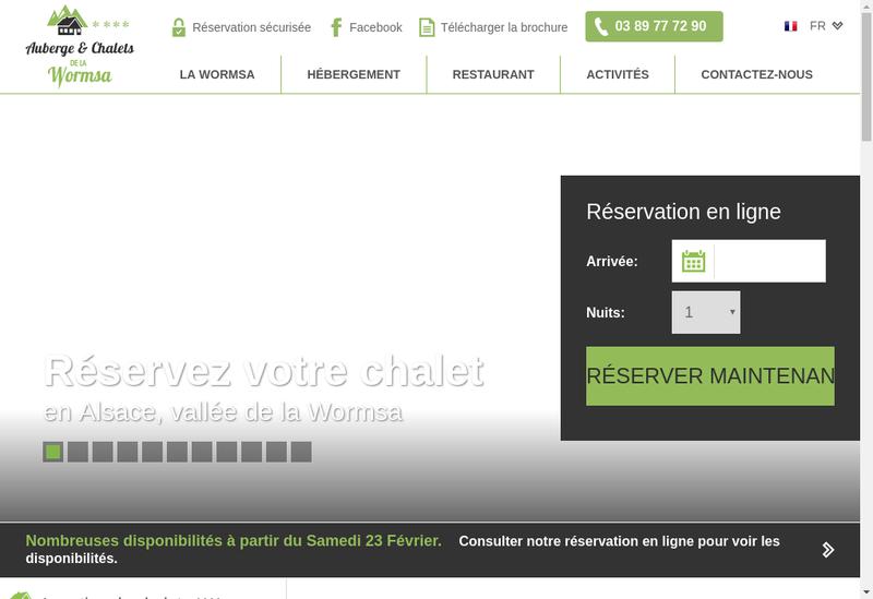 Capture d'écran du site de Auberge et Chalets de la Wormsa