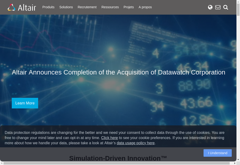 Capture d'écran du site de Altair Engineering France