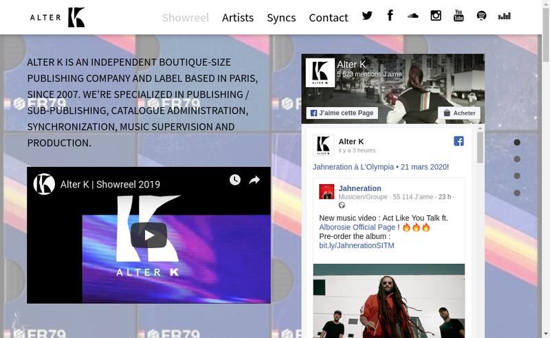 Capture d'écran du site de Alter K