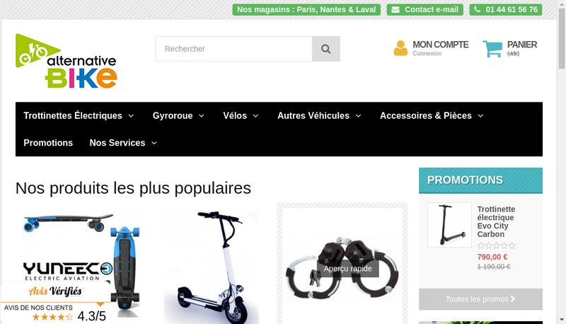 Capture d'écran du site de Alternative Bike