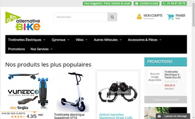 Site internet de Alternative Bike