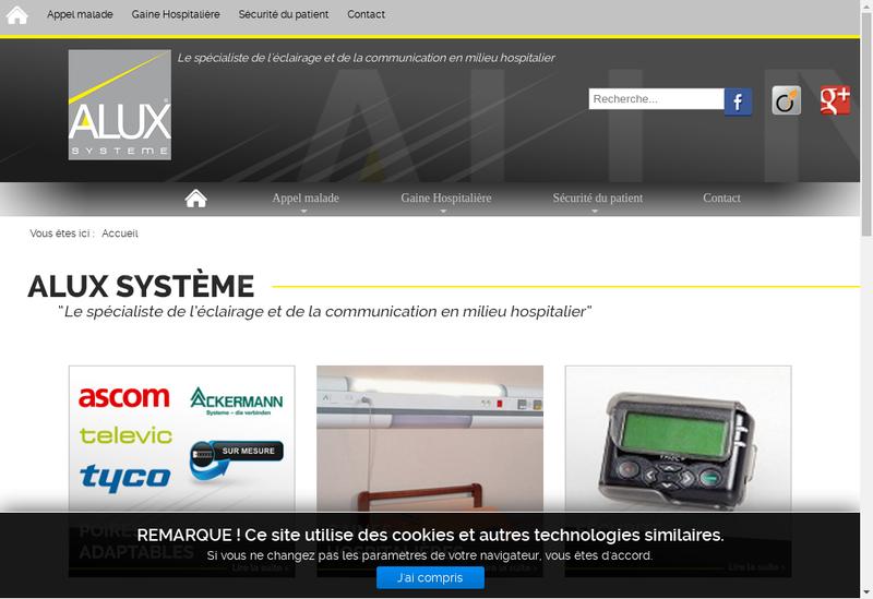 Capture d'écran du site de Alux Systeme