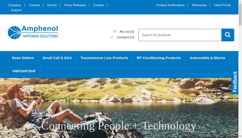 Capture d'écran du site de Amphenol Antenna Solutions